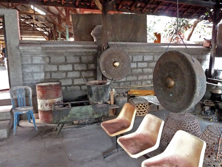 Gongs at the gamelan foundry in Blahbatuh, Bali.