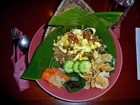 My meal at The Three Monkeys in Ubud, Bali.
