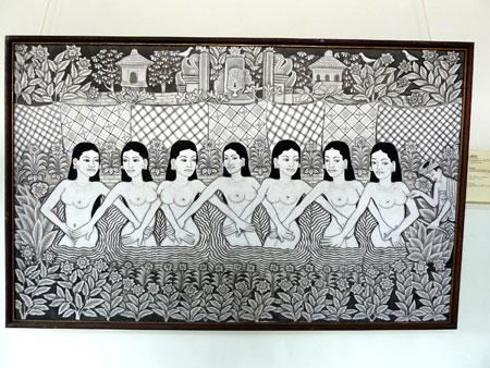 Seven bathing angels at the Agung Rai Museum of Art in Ubud, Bali.