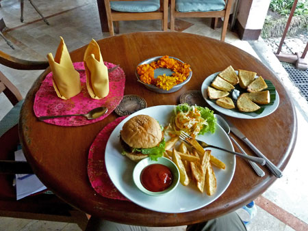 Veggie burger and fries at Bumbu Bali in Ubud, Bali.