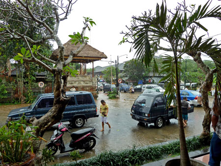 Monsoon flooding at Ubud Palace in Ubud, Bali.