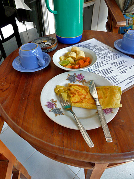 Yummy banana toast breakfast that came free with my room at the Frog Pond Inn in Ubud, Bali.