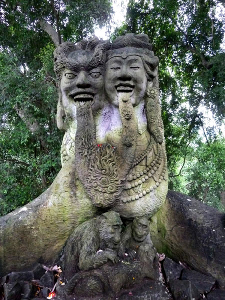 A cute couple in the Sacred Monkey Forest Sanctuary in Ubud, Bali.