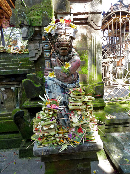 Offerings to gods and demons in Ubud, Bali.