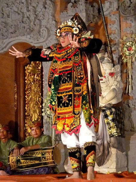 Baris dance at Ubud Palace in Ubud, Bali.
