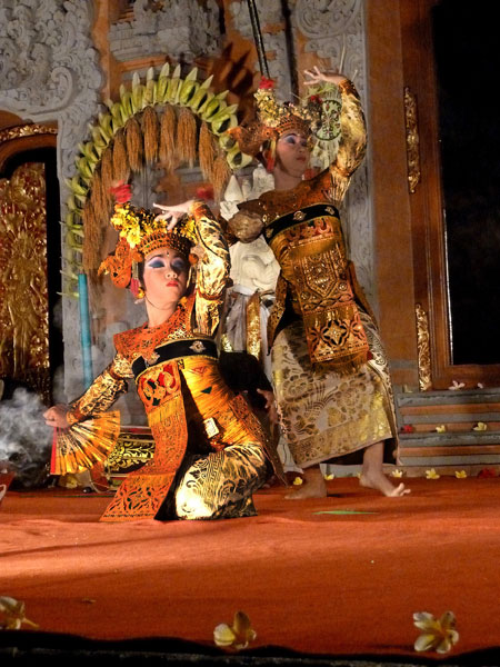 The Legong Trance dance at Ubud Palace in Ubud, Bali.