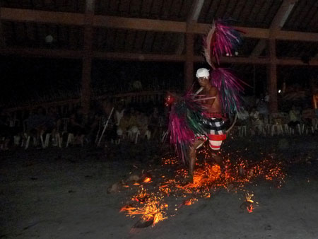 Fire dance at Pura Dalem Ubud in Ubud, Bali.