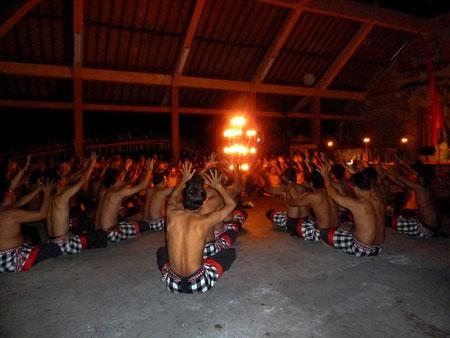 Kecak (Monkey dance) at Pura Dalem Ubud in Ubud, Bali.