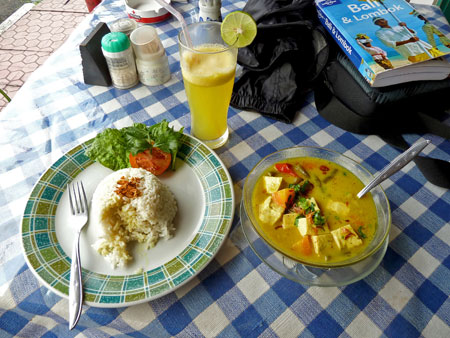 A late lunch in the form of tofu curry soup and rice at Warung Dayu in Ubud, Bali.