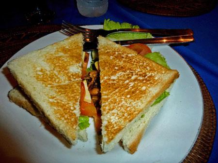 Veggie sandwich dinner in Ubud, Bali.