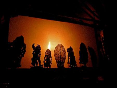 Wayang Kulit shadow puppets at Kertha Accommodation in Ubud, Bali.