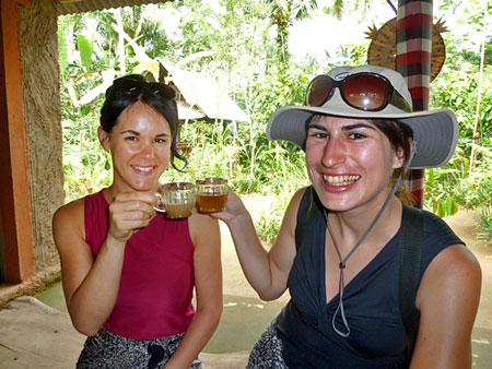 Veronica and Jen enjoy some homemade tea in Bali.