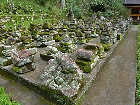 A stone garden at Goa Gajah, Bali.