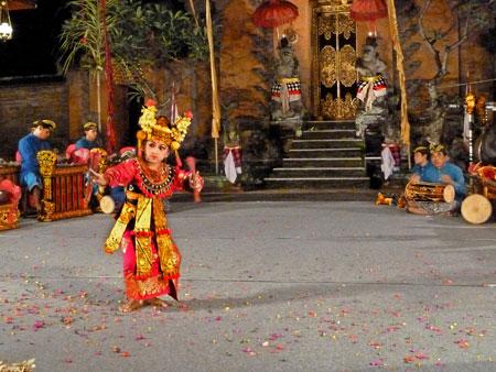 The Legong Lasem dance at Puri Agung Peliatan Palace in Peliatan, Bali.