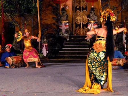The Oleg Tambulilingan dance at Puri Agung Peliatan Palace in Peliatan, Bali.