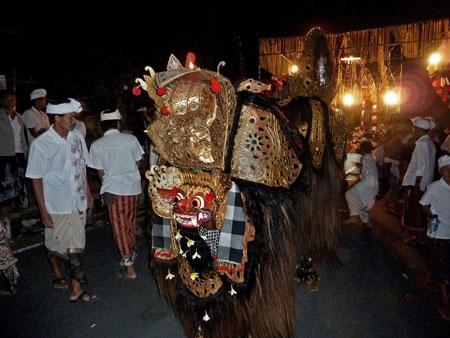 Barong in the staging area at Pura Dalem Puri in Peliatan, Bali.