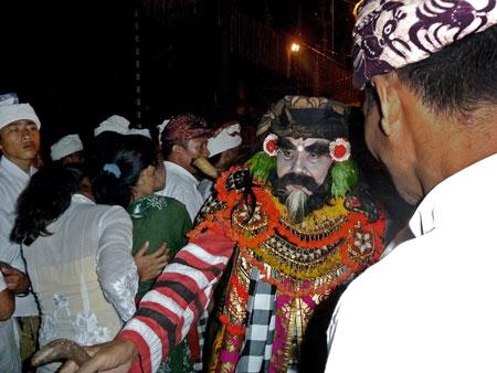 The Calon Arang drama at Pura Dalem Puri in Peliatan, Bali.