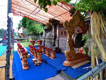 Gamelan at Pura Dalem Puri in Peliatan, Bali.