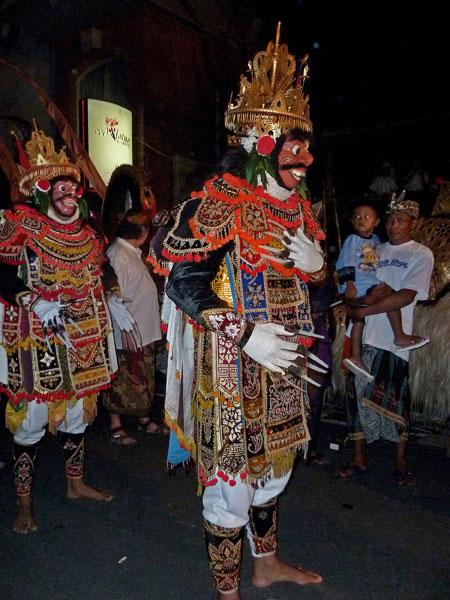 Jauk dancers in the staging area at Pura Dalem Puri in Peliatan, Bali.