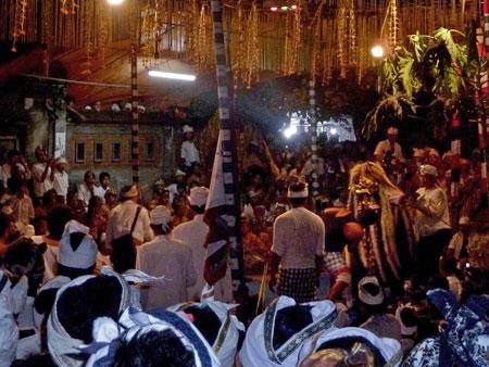 A battle with Rangda at Pura Dalem Puri in Peliatan, Bali.