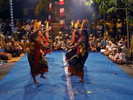 The Sisya dance at Pura Dalem Puri in Peliatan, Bali.