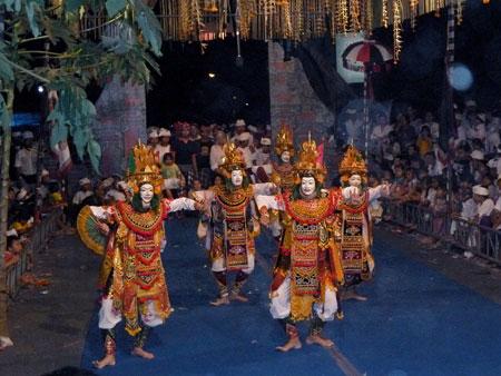 The Telek dance at Pura Dalem Puri in Peliatan, Bali.