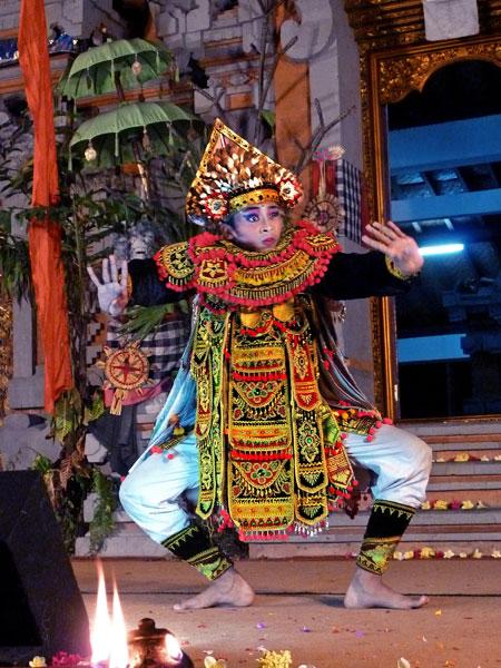 The Baris dance at Pura Dalem Ubud in Ubud, Bali.