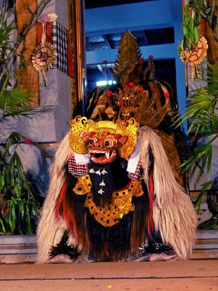 The Barong dance at Pura Dalem Ubud in Ubud, Bali.