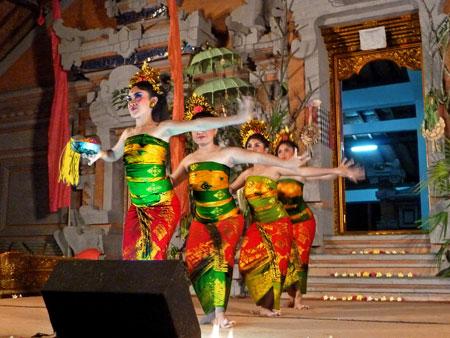 The Gabor dance at Pura Dalem Ubud in Ubud, Bali.