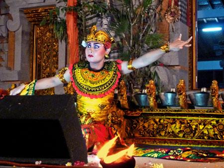 The Kebyar Trompong dance at Pura Dalem Ubud in Ubud, Bali.