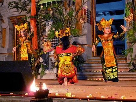 The Legong Lasem dance at Pura Dalem Ubud in Ubud, Bali.
