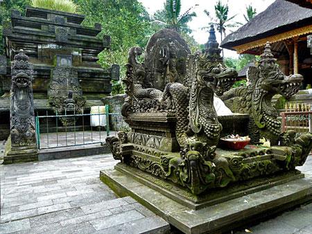 Two dragons at Pura Tirta Empul, Bali.