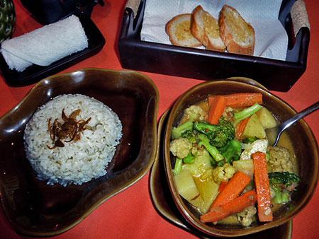 Veggie soup, rice and toast in Ubud, Bali.
