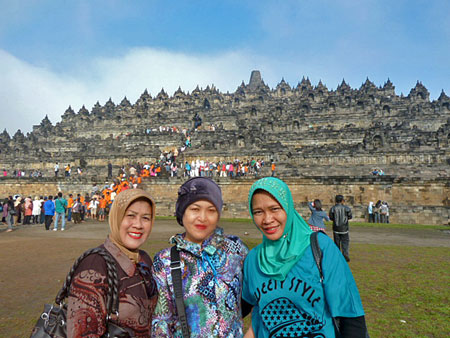 The three women who chatted me up at Borobudur near Magelang, Central Java.