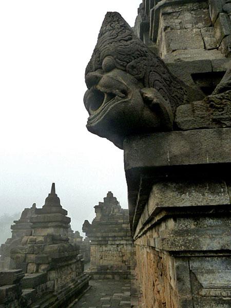 Spouting off at Borobudur near Magelang, Central Java.