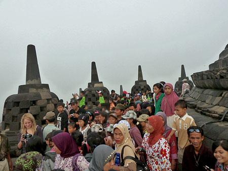 The teeming masses at the top of  Borobudur near Magelang, Central Java.