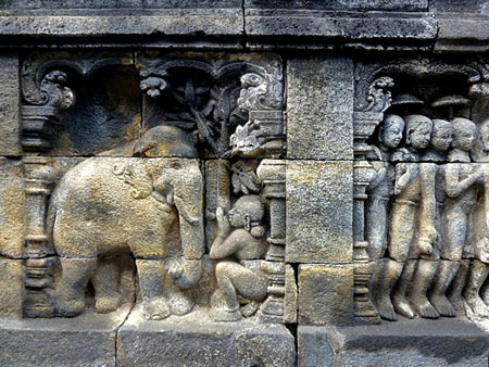 A Buddhist teaching rendered in stone at  Borobudur near Magelang, Central Java.