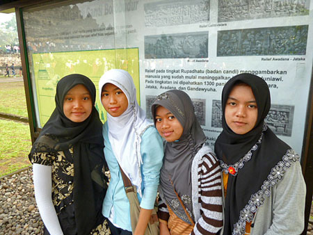 The second group of girls who interviewed me at Borobudur near Magelang, Central Java.