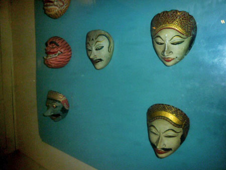 A few traditional Javanese masks in the Kraton Museum in Solo, Java.