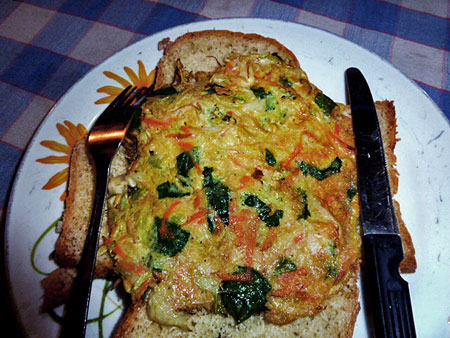 An omelette served on homemade bread at Warung Baru in Solo, Java.