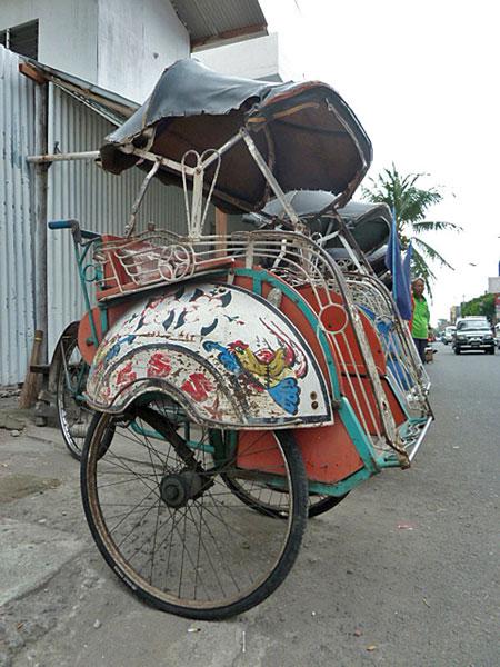 Becak in Yogyakarta, Java.