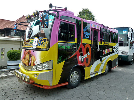 A colorful bus out in front of the Sono-Budoyo Musem in Yogyakarta, Java.