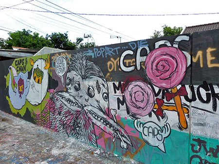 Some colorful street art in Yogyakarta, Java.