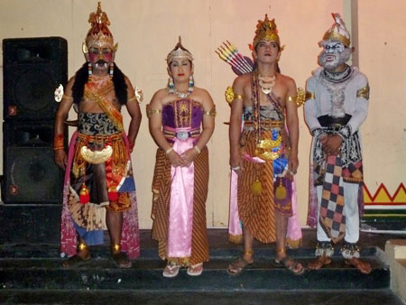 Four dancers from the Ramayana Ballet at Purawisata in Yogyakarta, Java.