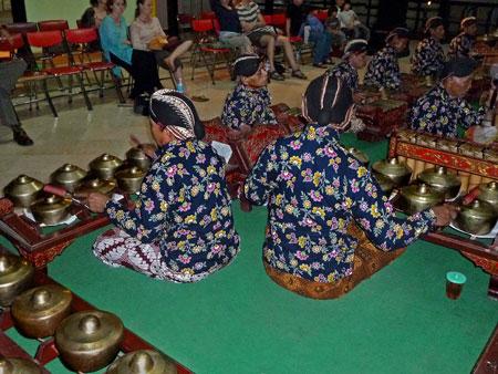 The gamelan at a Wayang Kulit performance at the Sono-Budoyo Museum in Yogyakarta, Java.