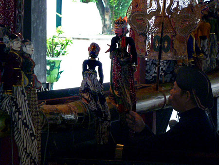 A Wayang Golek performance at the Sultan's Palace in Yogyakarta, Java.