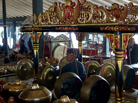 The gamelan at a Wayang Golek performance at the Sultan's Palace in Yogyakarta, Java.