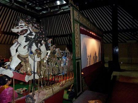 A Wayang Kulit performance at the Sono-Budoyo Museum in Yogyakarta, Java.