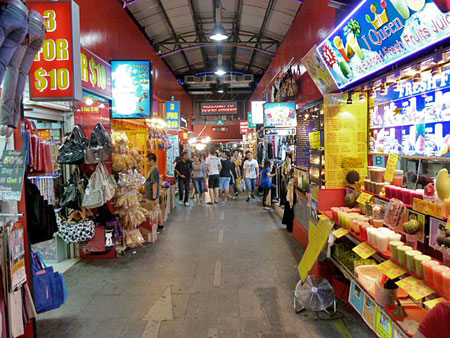 Just one aisle of shopping stalls on Bugis Street in Singapore.