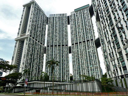 The gigantic Cantonment Towers apartment complex near Outram Park, Singapore.
